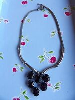 SILVER TONE FOXTAIL LINK CHAIN WITH PURPLE GLASS GRAPE PENDANT NECKLACE  76-93