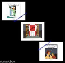 Lot 3 Ex-libris TINTIN OBJECTIF LUNE affiche Hergé triptyque figurine BD poster