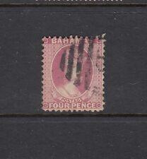 BAHAMAS: 1882 QV 4d Rose Perf 12 SG 41 £45, fine barred 'B' cancel.