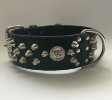 """LEATHER DOG COLLAR-STAFFY/STAFFIE/STAFFORDSHIRE-REAL LEATHER/ DOG COLLAR 2"""" WIDE"""
