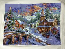 """New Completed finished cross stitch needlepoint""""Christmas Holiday""""decor gifts"""
