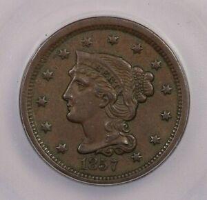 1857-P 1857 Braided Hair Cent Small Date 1c ICG AU50