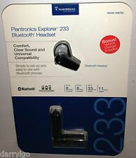 Plantronics Explorer 233 Bluetooth Headset Universal w/ Car Charger & Ac Adapter