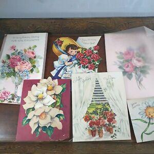 Vintage Birthday Ephemera greeting cards used 1950s floral lot 6