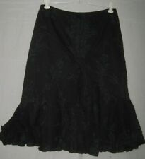 Leggiadro NWOT Size 0 Black Lace Embroidered Ruffled and Tiered Hem Back Zipper
