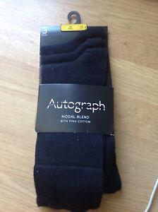 Mens Detagged M+S autograph 3 pk black modal with Pima cotton socks best seller