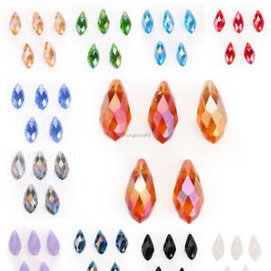 20Pcs Faceted Glass Teardrop Pendant Finding Jewelry Making Loose Beads 6/8/10mm