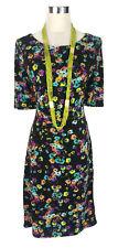 LEONA EDMISTON Dress - Floral Boat Neck Ruched Black Green Purple Yellow Blue 8