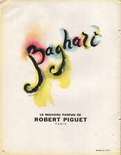 Publicité Advertising  BAGHARI  le nouveau parfum de ROBERT PIGUET