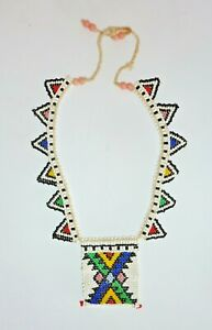 VINTAGE hand made WOVEN GLASS SEED bead necklace choker AFRICAN tribal BOHO