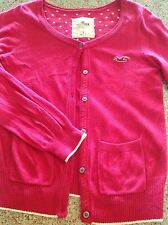 Hollister Cardigan Small Hot Pink Crewneck Sweater
