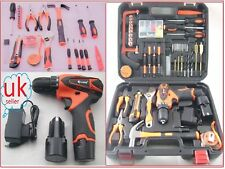 Hand Tool Box Cordless Rechargeable Lithium Drill Bit 48 Set 12v Hammer Case Scr