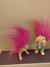 Vintage Original Magic Troll Baby Pvc Figures Applause 1991 lot of 2 Pink Hair