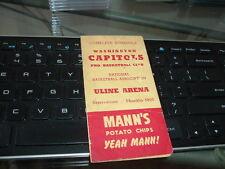 1951? Washington Capitols Basketball Pocket Schedule Bi-Fold Mann's Chips