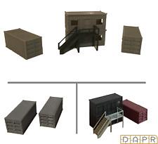 DAPR - N Gauge Model Railway Scenery Building - Portacabin Office & Containers