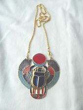 X-Large Egyptian Metal Gold Plated Multi-Color Horus Scarab Bettle Necklace 3X3""