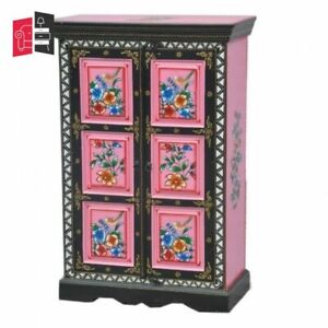 Pandora Hand Painted Cabinet Black Pink Floral (MADE TO ORDER)