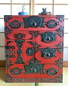 """Japanese Vintage Furniture Clothes Chest Cabinet Red Lacquered 1960s H.25.1"""""""