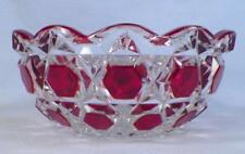 Red Block Berry Bowl Ruby Stained Early American Pattern Glass Captain Kidd