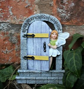 Garden Ornament Fairy Door Magical Secret Enchanted Mushroom Hobbit Cherub