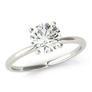DIAMOND ENGAGEMENT RING ROUND SOLITAIRE VS1 D 14K WHITE GOLD SIZES 4.5 - 9 NEW