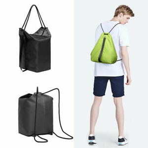 Men Drawstring Backpack Boy Casual School Shopping Swimming Gym Sport Canvas Bag