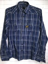 G Star Raw Blue Plaid Button Front Down Long Sleeve Shirt Mens Size S