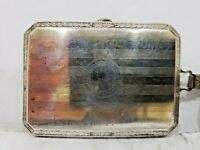 Vintage Cigarette / Card Case Etched Silver & Gold Plated With Chain   393/18