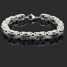 Unisex's Chain Stainless Steel Silver Tone Curb Link Clasp Cuff Bangle Bracelet