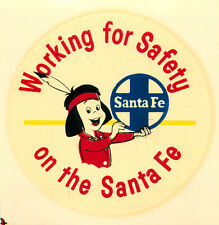 Working for Safety on the SANTA FE RAILROAD - Orig. Travel Label / Decal, c 1950