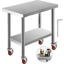 "Commercial 18""x30""Stainles s Steel Work Prep Table With 4 Wheels Kitchen"