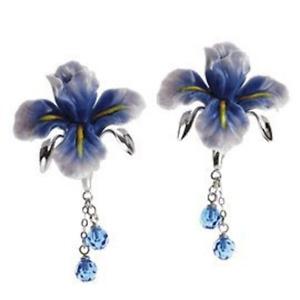 Franz Porcelain - Rhodium Earrings - Blue Iris Flower