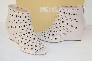 New $160 Michael Kors Uma Wedge Cement Beige Suede Bootie Open Toe Boots