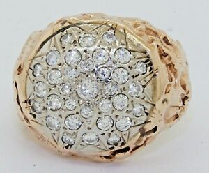 Heavy 14K 2-tone gold beautiful 1.55CTW VS diamond cluster cocktail ring size 8