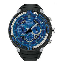 PULSAR MEN'S 48MM BLACK RUBBER BAND STEEL CASE QUARTZ BLUE DIAL WATCH PT3551X1