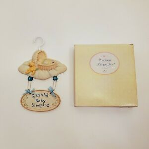 Baby Boy Precious Keepsakes Wall Hanging Plaque by Russ Handpainted Blue Cute
