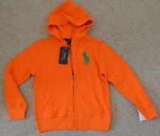 Nuevo Polo Ralph Lauren Big Pony Chicos Unisex Zip Hoodies sweatjacket pequeña naranja