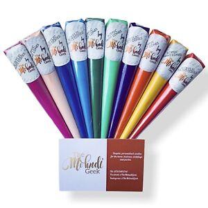 10x Multicoloured Acrylic Henna Paint Cones Mehndi Artist Craft Candles Artwork