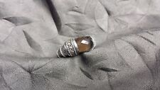 Beautiful JUDITH RIPKA Smokey Quartz Sterling Silver CZ Designer Dome Ring - Sz9