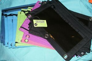 """Lot of 17 Clear Window 3 Ring Binder Pencil Pouches 9.5"""" X 7"""" Two zip areas NEW"""
