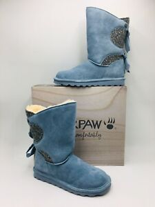 BEARPAW Women's Willow Suede Tie Detail Boot with NeverWet Size 8 Light Blue