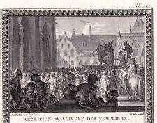 Gravure XVIIIe Abolition de l'Ordre desTempliers Chevalerie Chrétienne Clément V