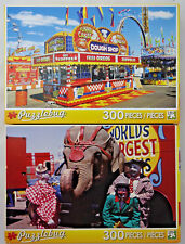 jigsaw puzzle lot 2 Puzzlebug 300 pc Florida State Fair & Circus Clowns Elephant