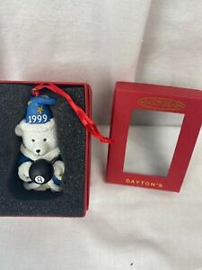 Dayton Hudson Santa Bear Ornament 1999 black 8 ball in box