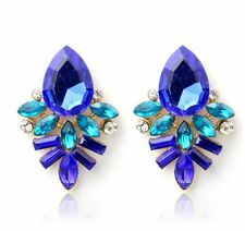 #1039 Fashion Women Lady Rhinestone Blue Crystal Drop Alloy Ear Studs Earrings