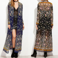 UK 8-24 Women Floral Waterfall Kimono Tops Cardigan Long Sun Coat Jacket Kaftan