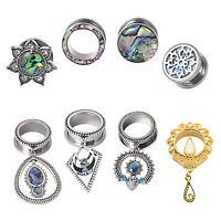 PAIR Silver Gauge Stainless Steel CZ Dangle Ear Plug Screwed Tunnel Body Jewelry