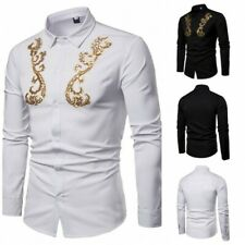 Men's Sequined Shirt Nightclub Long sleeve Button Front Blouses Slim Fit Tops D