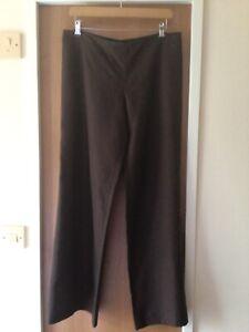 Jean Paul Gaultier BROWN 100% Linen Wide Leg TROUSERS Size 12
