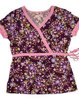 Koi Scrub Top Women's Small 115PR Floral Wrap
